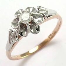 14k Rose (Pink) & White Gold Genuine Diamond Russian Style Ring