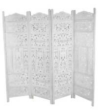 4 Panel Hand Carved Indian Screen Wooden Leaves Screen Room Divider 177x183cm White