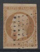 """FRANCE  N° 9 """" LOUIS-NAPOLEON 10c  BISTRE 1852 """" OBLITERE TB A VOIR  N823"""