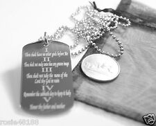 THE TEN COMMANDMENTS DOG TAG NECKLACE RELIGIOUS STAINLESS STEEL