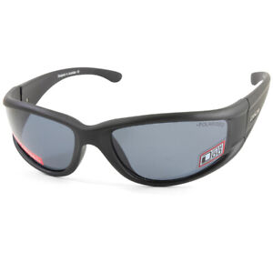 Dirty Dog Banger 53637 Satin Black/Grey Polarised Men's Sport Wrap Sunglasses