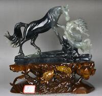 "16 ""Naturel Chinois 100% Xiu Jade Jadeite Sculpté Pin Arbre Deux Cheval"