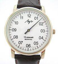 Uhr LUCH mit einem Zeiger Einzeigeruhr Monozeiger Zirkonium weißes Zifferblatt