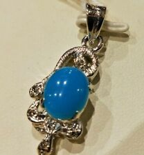 Natural Turquoise Locket Pendant Pure 925 Solid Sterling Silver Exclusive Cut