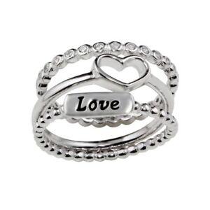 Sterlingsilber Dreifach Ringe ( Liebe, Herz & Ewigkeit Ring Mit Cz Steine)