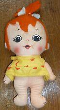 """Vintage KNICKERBOCKER Cloth Doll 7"""" PEBBLES 1972 Hanna-Barbera Flintstones"""