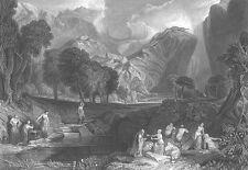 NAKED NUDE WOMEN GIRLS BATHE In Mountain Lake 1861 LANDSCAPE Art Print Engraving