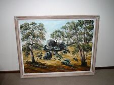VINTAGE EARLY VERY LARGE LANDSCAPE OIL PAINTING ON CANVAS SIGNED BY HENK GUTH