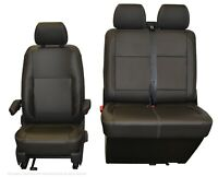 VW Transporter T6.1, T6, T5.1 Front INKA Tailored Seat Cover Black Leatherette