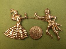 """RARE PAIR OF SILVER VTG ANTIQUE """"CHAINED"""" BROOCHES, SPANISH? MAN & LADY DANCERS"""