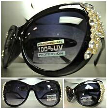 CLASSIC VINTAGE 60s CAT EYE Style BLING RHINESTONE SUNGLASSES Black & Gold Frame