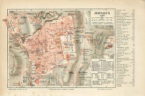 1905 JERUSALEM CITY PLAN ISRAEL PALESTINE Antique Map dated