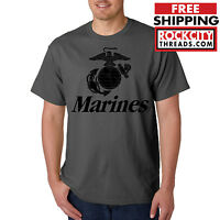 MARINES T-SHIRT CHARCOAL Usmc Us Semp Marine Corps Semper Fi Corp Military Shirt