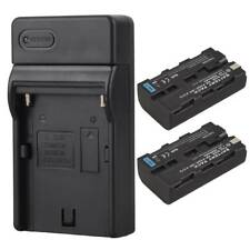 2x 2600mAh NP-F550 Battery + Charger For Sony NP-F550 NP-F570 Camera Replacement