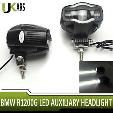 Pair LED Auxiliary Headlight Charged USB Port Light For BMW R1200G Motorcycle