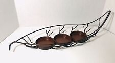 Metal LEAF Candle Holder Fits 3 Candles Centerpiece Display