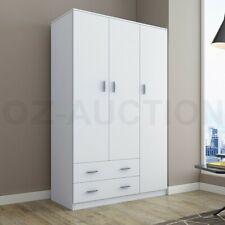 180cm Wardrobe Cabinet Bedroom Clothes Storage Organiser Cupboard 3 Doors White