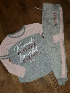 Girls Size 10 JUSTICE  Sweatsuit Marled Gray, Rose Gold, pink Sweatpant Top