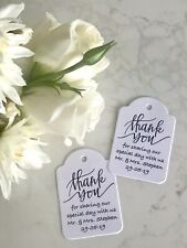 Classic Thank You Wedding Tags Sharing Special Day Minimalist Mr & Mrs Meal