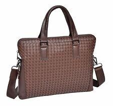 UNIQUE Unisex Slimline Brown Leather Briefcase Messenger A4 Office Satchel Bag