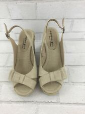 Madden Girl Women's Encoree Brown Beige Linen Platform Wedge Sandal Shoes size 6