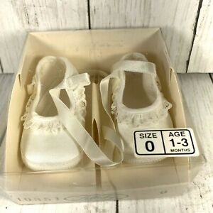New in Box Vintage Lullaby Baby Shoes White Satin Lace  Size 0 (1-3 months)
