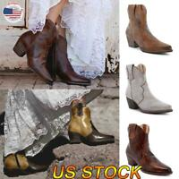 US Womens Cowgirl Cowboy Ankle Boots Ladies Pointed Toe Block Heel Shoes Size