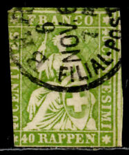 SWITZERLAND: 1858 19TH CENTURY CLASSIC ERA STAMP SCOTT #40 CV $100 SOUND
