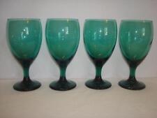 "Set of 4~Libbey~Juniper~Emerald Green~14 oz Wine Goblets~Glasses~7 1/8""~Holidays"