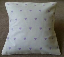 Shabby Chic Harlequin Love Heart purple cushion covers 16 x 16 inch lilac cotton