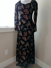 STUNNING VINTAGE HAND MADE IN ITALY HAND PAINTED WOOL SILK MAXI GEISHA DRESS XS