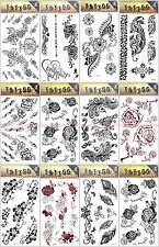 US SELLER-12 sheets fake tatoos boho lace rose temporary tattoo