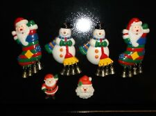 LOT 6~CHRISTMAS MAGNETS~3-D~4 W/METAL BELLS~SANTA, SNOWMAN HOLIDAY MAGNETS