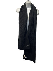 Michael Kors Black Cable Knit Scarf 12 In.  x 67 In.