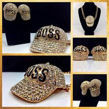 Crystal BOSS Statement Cap Necklace and Earrings - Gold or Silver