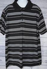 Slazenger Golf Shirt Polo Boys Youth Large Black White Striped Short Sleeve EUC!