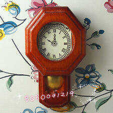 Dollhouse Miniature Living Room A Vintage Wooden Red Clock H5.5cm RD1084