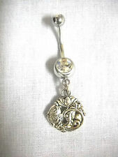 NEW CARP FISH w LOTUS FLOWER DESIGN CHARM ON DBL CLEAR CZ BELLY RING NAVEL BAR