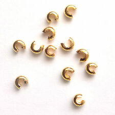 100 Gold Plated Crimp Cover Beads 3mm Findings