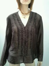 PERRI CUTTEN RSVP Size 16 Chocolate V Neck Button Frill Blouse NWOT RRP $169.95