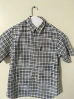 Columbia Men's Button Down Short Sleeve Shirt-Blue/Yellow/Striped-Size Large XL