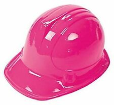 12 Pack Kid's PINK Plastic Construction Hard Hat Party Costume Accessories