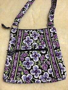 Vera Bradley Plum Petals Large Hipster Crossbody Shoulder Bag Purple/Brown NWOT