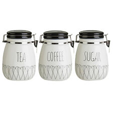 cbfb52446e67 Set Of 3 Heartlines Tea Coffee Sugar Canisters Black White Storage Jar  Container