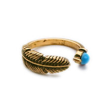 Women Classy Ring For Best Friends Antique Banquet Feather Blue Gem Crystal Gold