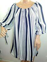 Mileage Women Plus Size 2x 3x Ivory Navy Blue Striped Tunic Top Blouse Shirt