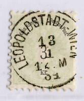"""AUTRICHE / AUSTRIA 1884 """" LEOPOLDSTADT-WIEN """" (gEje Klein 5750e) /Mi.45 (p9 1/2)"""