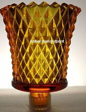 Home Interiors Diamond Point Cut Amber Votive Cup w/ rubber grommet