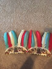 2 Vintage Toy Indian Feather Headdress Made in USA