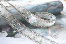 Opal Rhinestone Applique Diamante Motif Pearl Bridal Costume Beaded Ribbon 50cm